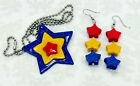 Rainbow Brite Star Earrings and Necklace - Cosplay 80's Cartoon Costume Retro