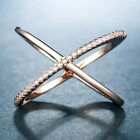 Infinity Rose Gold Filled Women Wedding Rings Round Cut White Sapphire Size 6-10 image