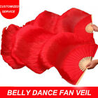 Women Hot Selling Hand Made Silk Belly Dance Fan Veils Pure Red Colors