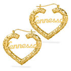 Kyпить Personalized Sterling Silver and Gold Plated Heart Bamboo Name Earrings Any Name на еВаy.соm
