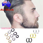 Men Titanium 316l Stainless Steel Small Round Hoop Sleeper Earrings Jewelry Punk