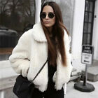 Womens fashion winter Warm Vintage 80s WHITE faux mink fur jacket COAT Outwear