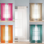NEW VERSATIL SET ROD POCKET SOLID WINDOW CURTAIN TREATMENT VOILE SHEER PANELS