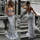 Women Bridesmaid Sequined Long Evening Party Formal Wedding Ball Prom Gown Dress