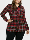 Plus Size Womens Plaid Shirt Jackets Hooded Check Coats Drawstring Blouse Tops