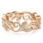 Fashion Leaf Rose Gold Filled Women's Wedding Rings White Sapphire Size 6-10 image