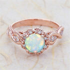 Fashion Rose Gold Filled White Fire Opal Women Party Cocktail Rings Size 6-10 image