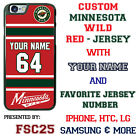 Minnesota Wild Personalized Red Hockey Jersey Phone Case Cover for iPhone etc
