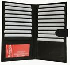 Genuine Leather Credit Card Holder Wallet 19 Card Slots   1 ID Window with Snap