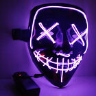 #3 Modes Scary Mask Cosplay Led Costume Mask EL Wire Light Up The Purge Movie# k