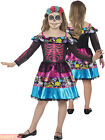 Girls Day of the Dead Skeleton Costume Childs Halloween Bride Fancy Dress Outfit