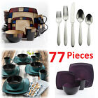 Square Dinnerware Set For 8 85Pcs Stoneware Kitchen 32Pc Plates Bowls Dishes Mug
