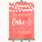 Wedding Sign Poster Print Coral Watercolour Lights Let Them Eat Cake