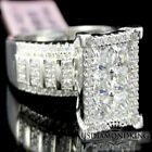 BIG PRINCESS CUT TOP REAL STERLING SILVER WHITE GOLD FINISH ENGAGEMENT RING BAND