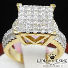 Ladies Big Bold Yellow Gold Plated Over Sterling Silver Engagement Ring Band New