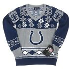 NEW Indianapolis Colts NFL Sweater V Neck Navy Blue Snowflake Women's Size S L $23.73 USD on eBay
