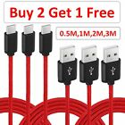 Heavy Duty Braided Type C USB Charger Cable 0.5M 1M 2M 3M Fast Charging RED