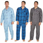 Mens Flannel Pajama Set 100 Cotton Checked Striped Loungewear Plus Size M-5XL