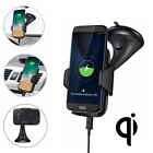 Qi Wireless Car Holder Cradle Mount Stand Fast Charger For iPhone 8 X XS Samsung