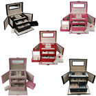 5 Colours Pu Large Jewellery Box Case Watch Holder Storage Organizer With Lock