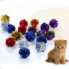 12Pcs Pet Cat Crinkle Foil Balls Cat Kitten Sound Paper Toy Mylar Ball Random UK