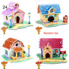 learning Assembling Paper Toy Cartoon House Jigsaw 3D DIY Puzzle Castle Model
