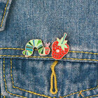 New Funny Caterpillar eat Strawberry Pins Brooch Red Head Worm Badge Lover Gift image