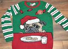 Ugly Christmas Sweater Pug Wearing Santa Hat Motion Sensored Light Up Sweater