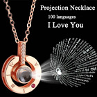 Silver Rose Gold 100 Languages Light I Love You Projection Pendant Necklace Gift