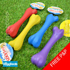 Solid Rubber Bone Dog Chew Toy - Tough Dental Teething - Small 13cm / Large 20cm