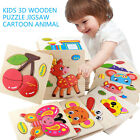 Wooden Cartoon Puzzle Educational Developmental Baby Kids Training Toy Gifts