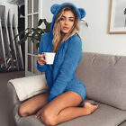 Winter Womens Fleece Hooded Sleepwear Cute Soft Pajamas Jumpsuit Nightwear Warm