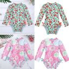 Baby Girls Long Sleeves Swimwear Floral Ruffle Swimsuit Rash Guard Bathing Suits