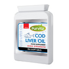 Cod Liver Oil High Strength 1000mg capsules high in Omega 3 and Vitamins A & D