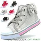 Внешний вид - Girls Toddler Canvas Shoes Sneaker Strap Little Kid Baby Flower Sequin Soft Sole