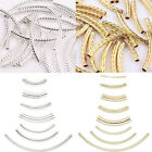 50x Smooth Curved Tube Silver Gold Plated Spacer Loose Bead DIY Jewelry Findings