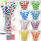 Kyпить Paper Straws For Drinks Decorations Classic Stripe 25 100 200 PCS and More Qtys на еВаy.соm