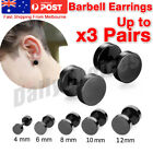 Pair Black Flat Round Barbell Earrings Plug Gym Mens Mm Stud 316 Stainless Steel