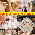 Women's Girls Pearl Hair Clip Gold Hairpin Slide Grips Barrette Hair Accessories