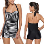 Black/White Striped Bra Top Bikini Beach Halter Shorts Swimsuit Swimwear L-3XL $5.15 USD on eBay