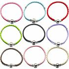 Ladies Womens Girls Kids Leather Charm Bracelets For Silver European Charm Beads