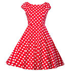 Women Vintage 50S 60S Cocktail Polka Dot Swing  Sleeveless Party Skater Dress