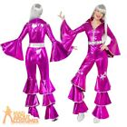 Adult Ladies 70s Dancing Queen Jumpsuit Pink Abba Fancy Dress Outfit Womens