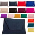 New Faux Suede Curved Envelope Design Ladies Party Evening Clutch Bag