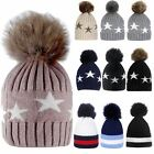 New Ladies Star Knitted Faux Fur Pom Pom Cashmere Angora Winter Hat