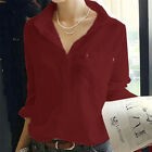 Women V-Neck Top Linen Button Down Loose Casual Career Shirt Long Sleeve Blouse