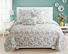 Centers Floral Reversible 100%Cotton 3-Piece Quilt Set, Bedspread, Coverlet image