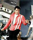 Elvis Presley Speedway Red and Blue Faux Leather Slim Fit Jacket