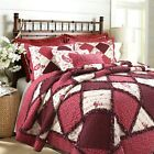 Pineiro Red Floral Real Patchwork 100%Cotton Quilt Set, Bedspread, Coverlet image