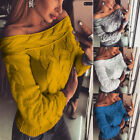 Women Spring Winter Sexy Off Shoulder Long Sleeve Pullover Knit Sweater Top